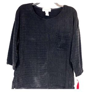 Cathy Daniels Black Crew Neck Ribbed Knit Top New